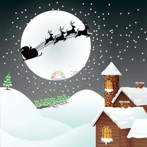 圣诞节雪天圣诞老人和雪人在雪地送礼物