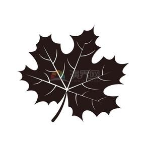 秋天秋日黑色落叶枫叶矢量素材