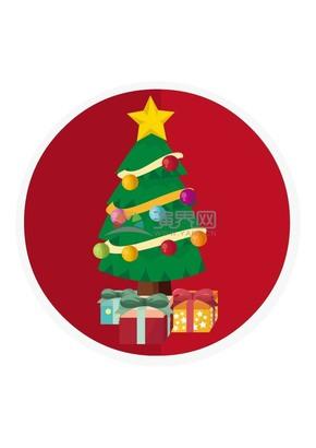圣诞树下的礼物矢量素材
