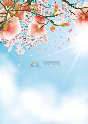 春日花开满枝创意背景素材