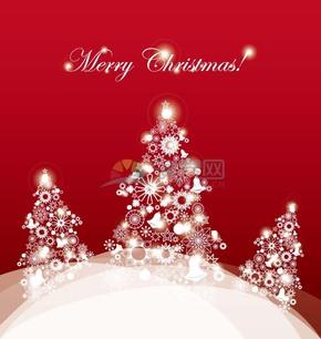 红色卡通创意圣诞节圣诞树插图素材