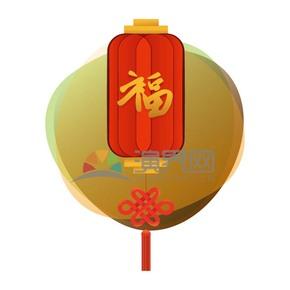 金色福字红色长灯笼苏祠