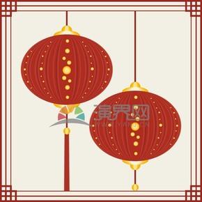 春節燈籠花紋矢量素材