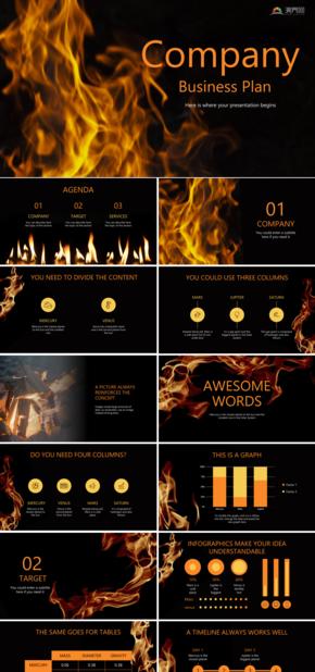 黑金火焰主題創業公司商業計劃模板