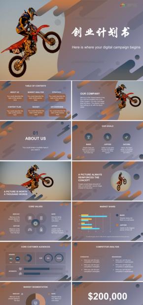 簡約褐色摩托車主題商業計劃PPT模板