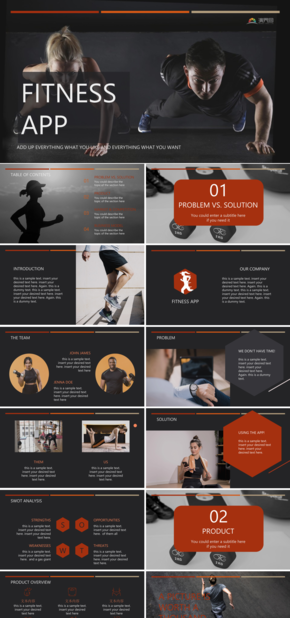 【健身】黑色大气运动健身主题商业计划.市场分析.项目展示模板