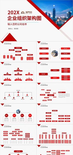 简约PPT模板企业组织架构图公司介绍ppt