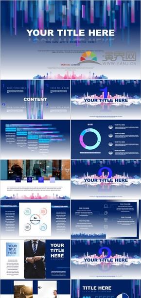 藍色 建筑 商務風 立體風格 矩形 有動畫和圖表 彩色