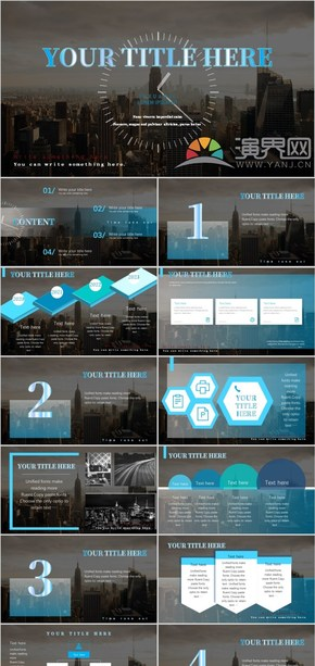蓝黑色 商务风 立体风格 有动画和图表 工作汇报 总结 产品  商业计划 发布