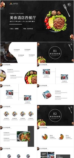 美食酒店西餐厅产品介绍宣传PPT模板