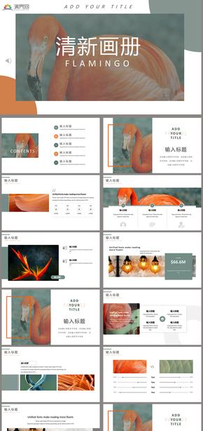 小清新浅色系简约清新画册企业介绍作品展示个人简历创意PPT模板