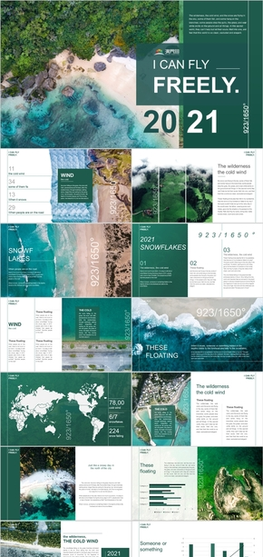 绿色小清新总结商务旅行PPT模板