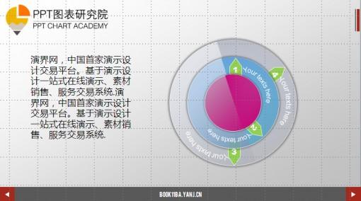 ppt图表-精致华丽转盘并列关系图