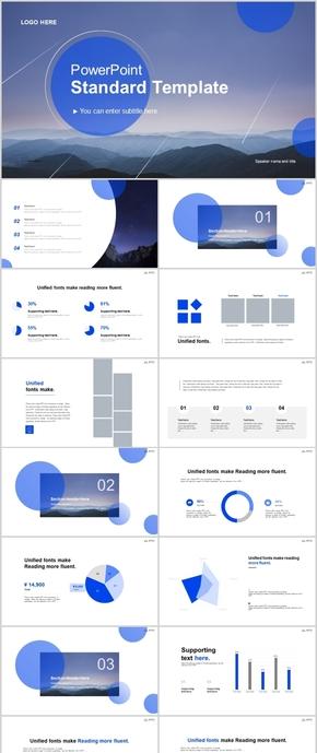 蓝白高端大气商业计划简介总结模板