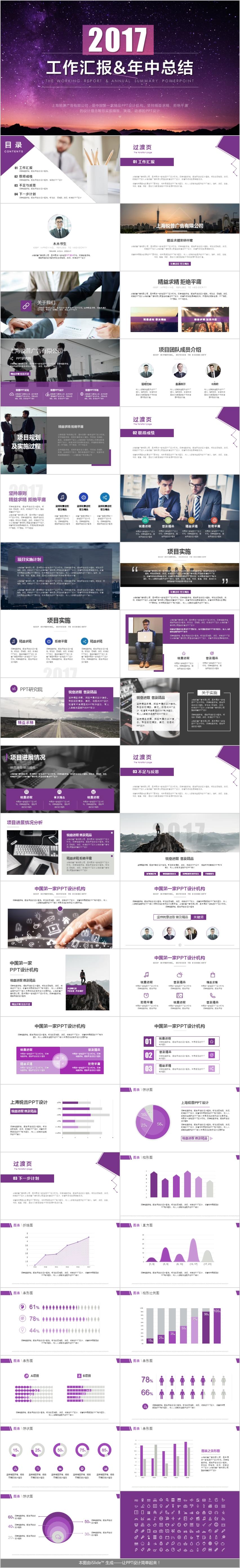 紫色扁平商务总结工作汇报企业信息教育简约PPT模板