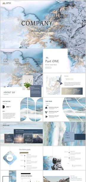 ins大理石杂志风商业计划书公司介绍通用PPT模板