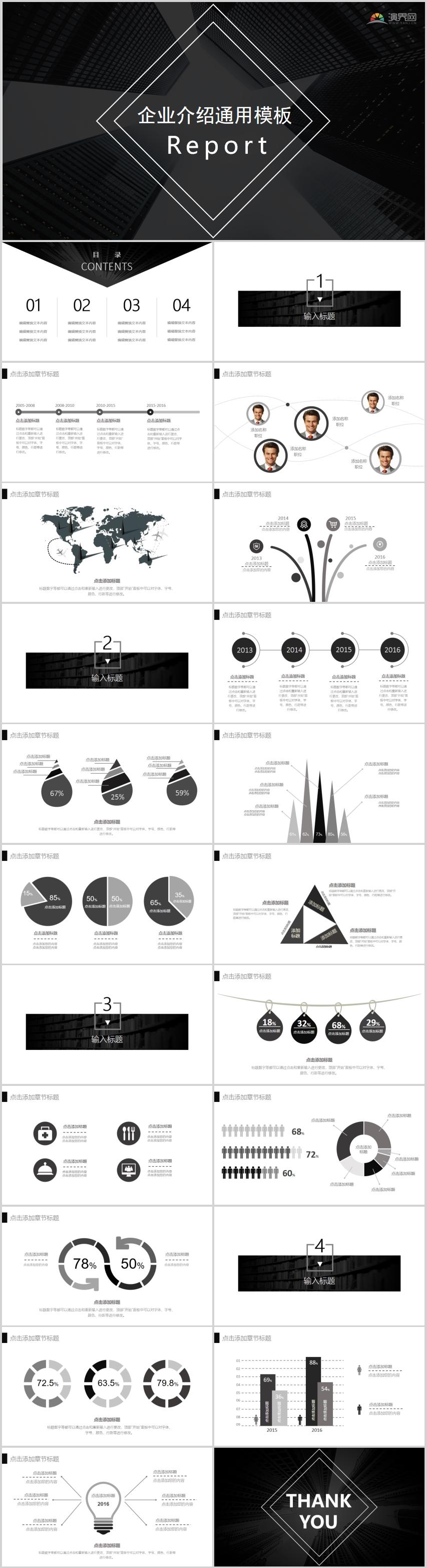 黑色商务风简约大气企业介绍介绍通用PPT模板