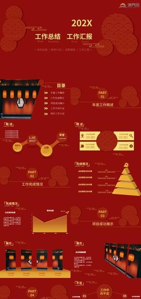 中国风红金色系年终总结PPT模板