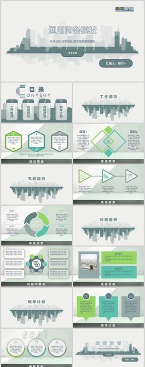 绿色城市极简风年终总结/述职报告/商务通用PPT模板