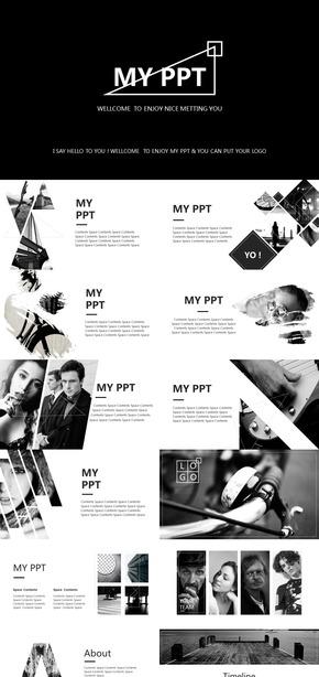 高端黑白行业介绍商业回报PPT模板