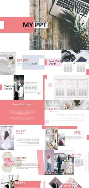 粉色清新企业展示风格PPT