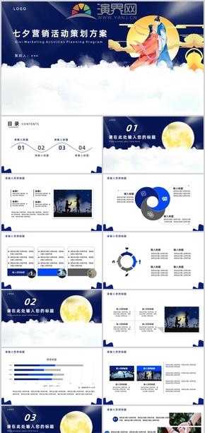 蓝色浪漫七夕营销活动策划PPT模板