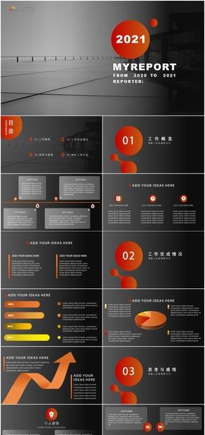 灰橙扁平商业汇报模板