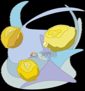 蓝黄配色抽象线条色块柠檬装饰矢量图案图标