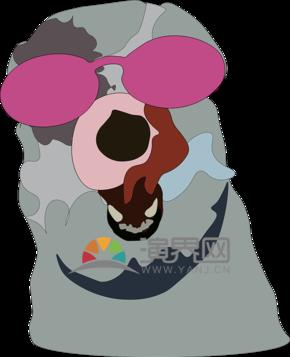 抽象色块个性墨镜酷狗狗logo装饰ai矢量图标