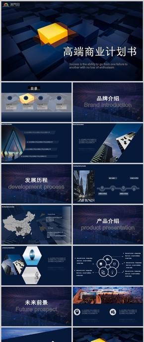 蓝色商务大气品牌介绍互联网科技项目汇报PPT模板