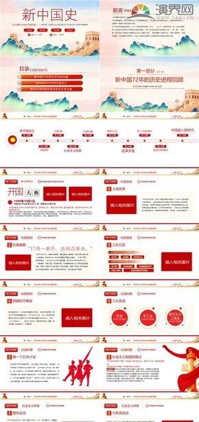 新中國史建黨百年黨風黨政黨建黨性教育宣傳PPT模板