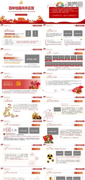 红色建党百年党风党政党建宣传教育PPT模板