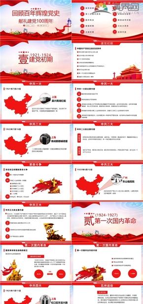 红色回顾史建党百年党风党政党建党教育宣传PPT模板