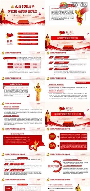 红色建党百年党风党政党建党教育宣传PPT模板