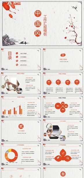 中国风复古工作汇报ppt模板