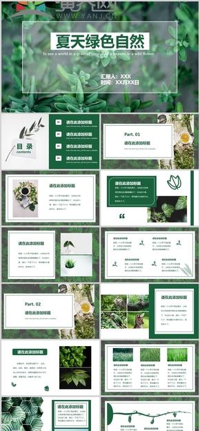 绿色夏天自然分享PPT模板