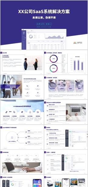 蓝紫色简洁商务IT互联网SaaS系统解决方案介绍PPT