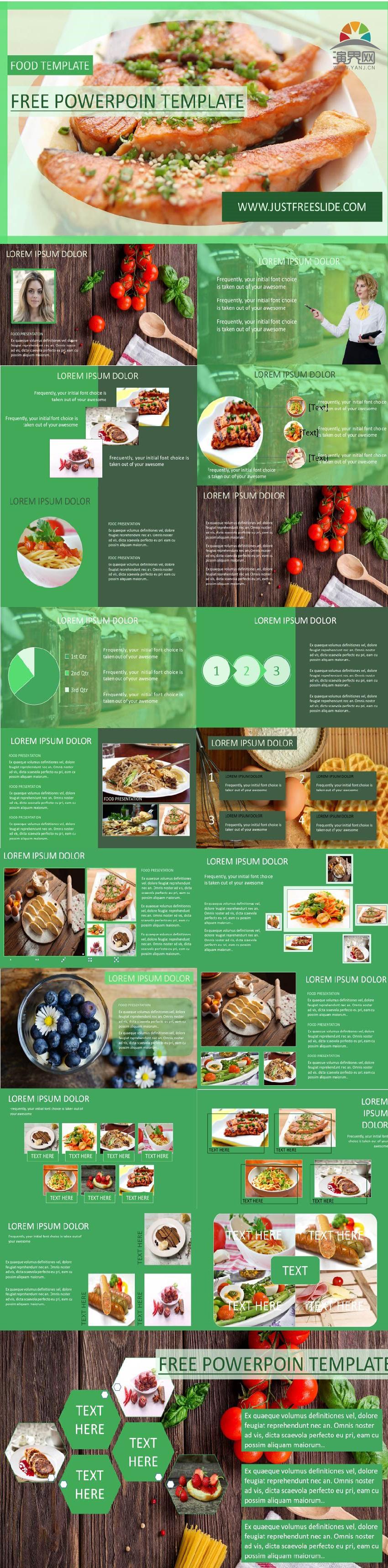 绿色健康中西餐美食PPT模板