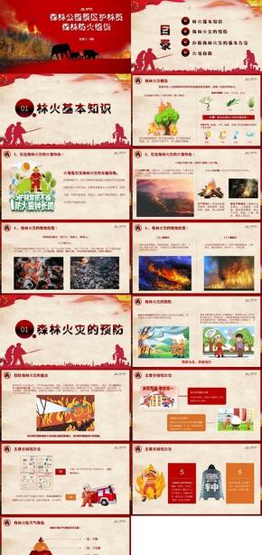 红色扁平森林消防宣传PPT模板