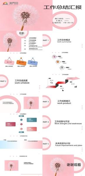 粉色簡約工作匯報PPT模板