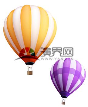黄紫色热气球