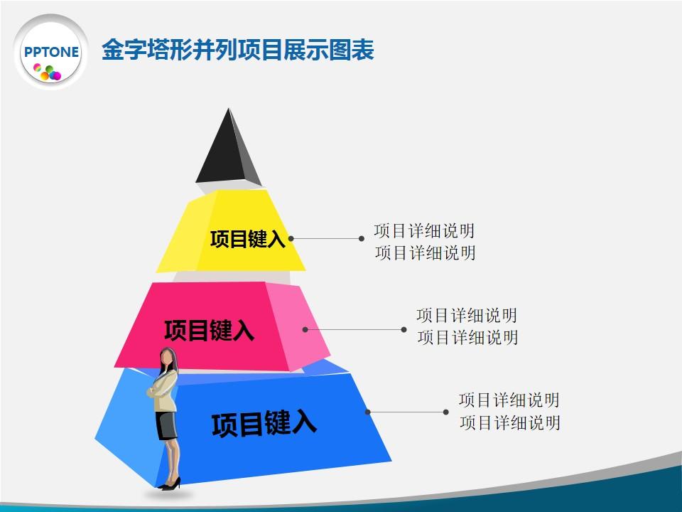 金字塔形并列项目展示图表