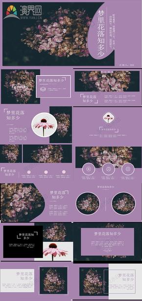 杂志风高雅紫相册图片展示PPT模板