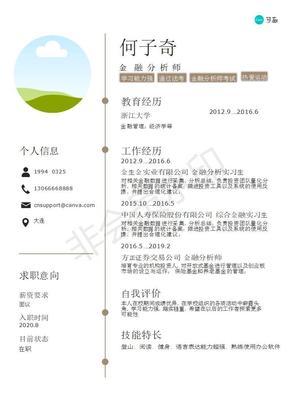 黄白色简洁金融中文简历