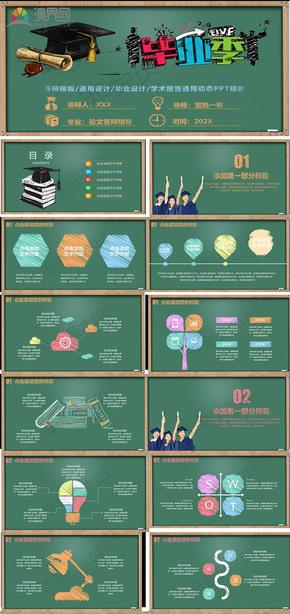 创业黑板粉笔字毕业论文设计ppt模板