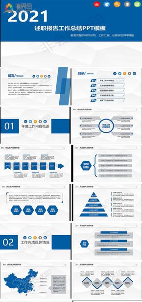 述职报告工作总结PPT模板