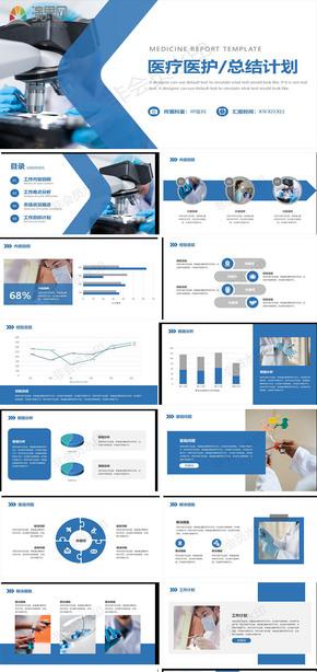 蓝色商务医疗医护工作总结计划PPT模板