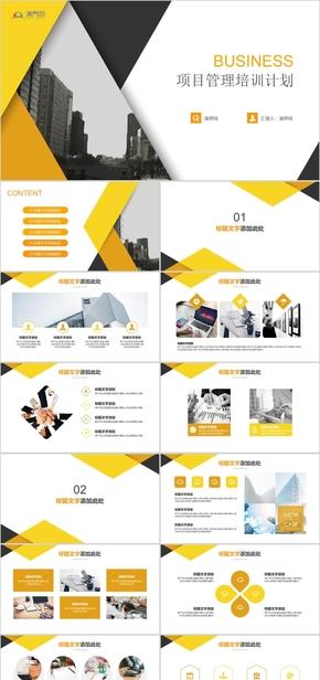 黄色商务项目管理培训计划演示模板