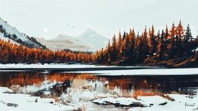 寂静的山中小湖艺术画