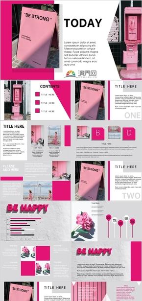粉色扁平杂志摄影风格总结介绍展示汇报PPT模板